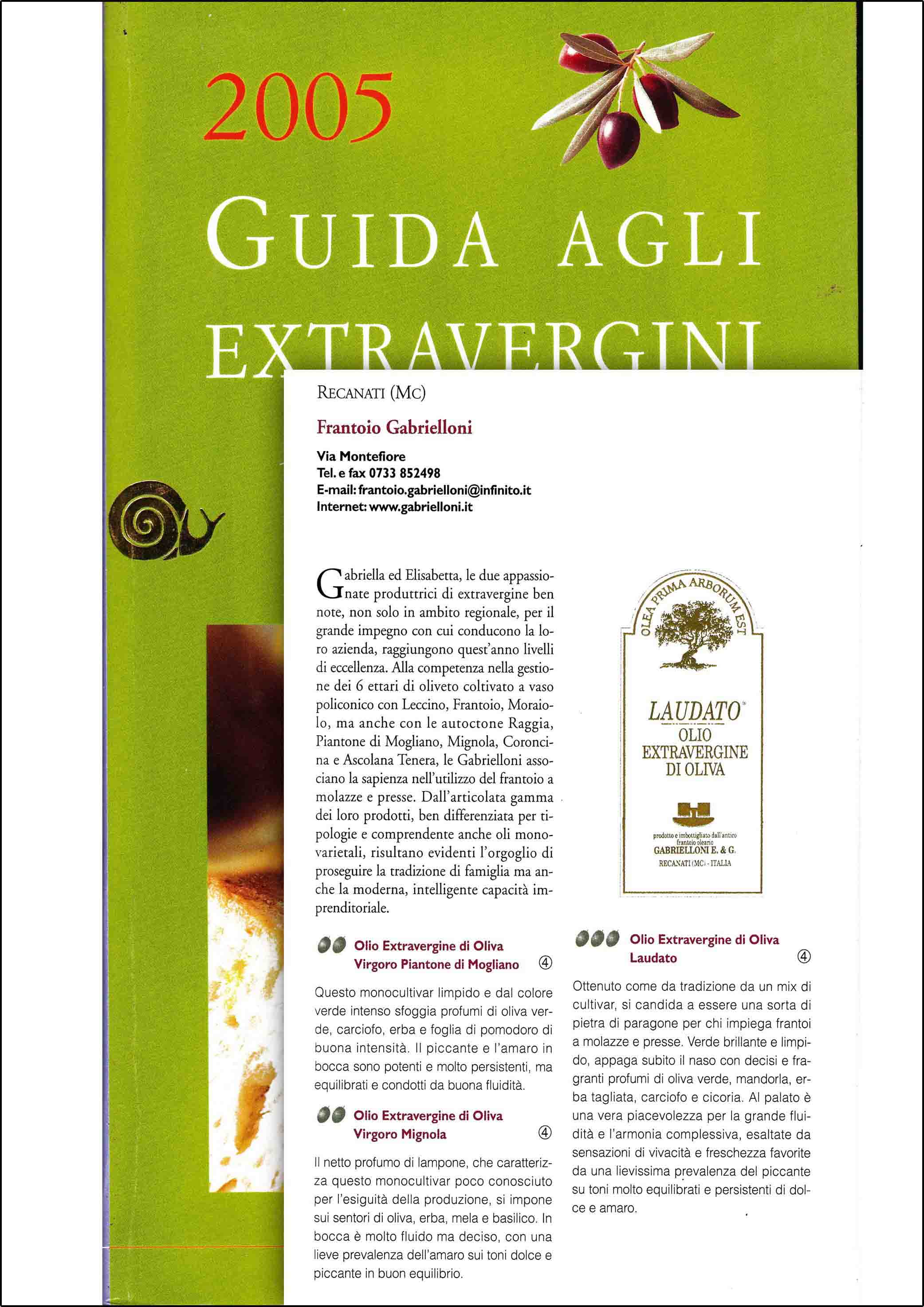Slow Food Guide to Extra Virgin Olive Oils 2005