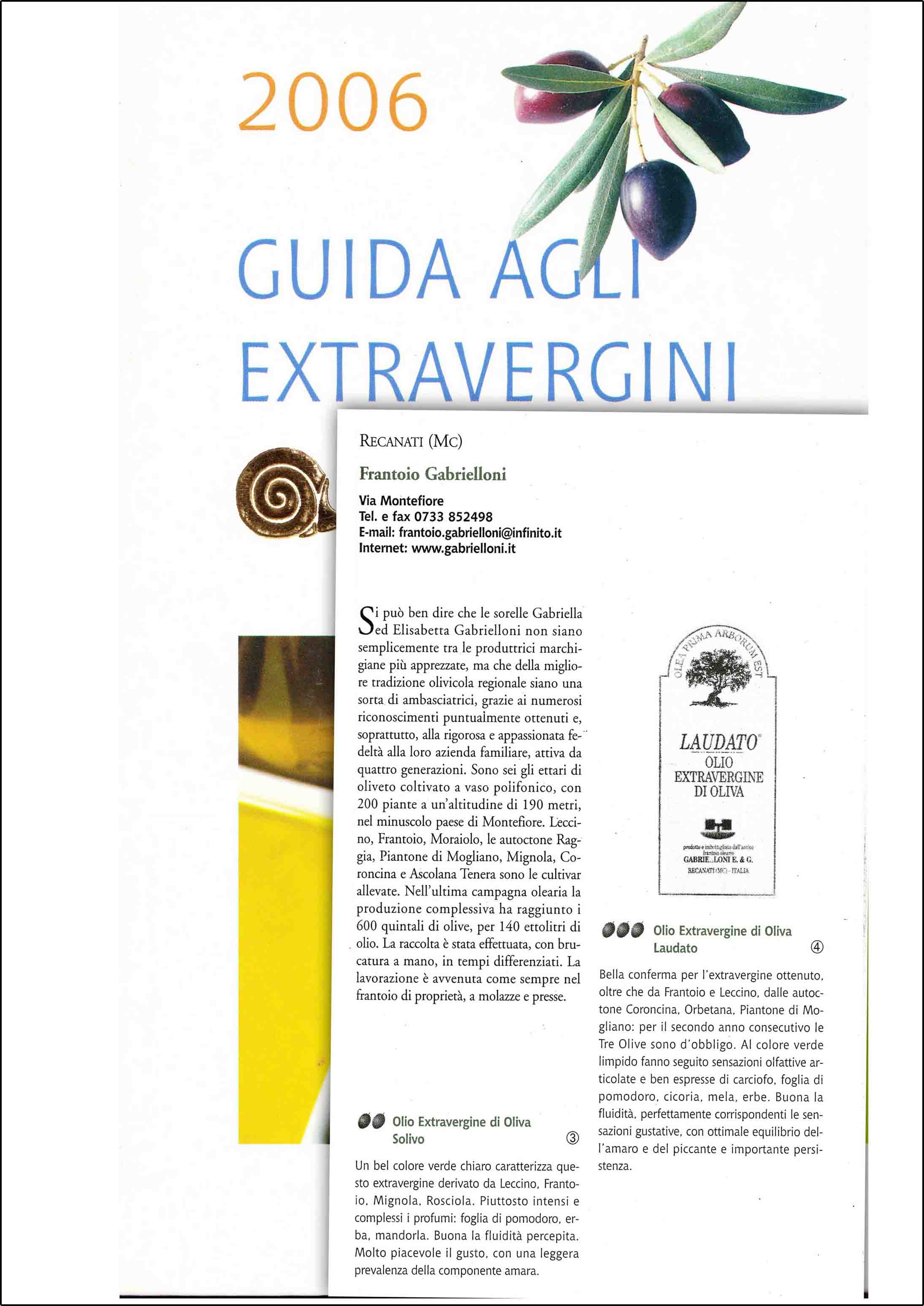 Slow Food Guide to Extra Virgin Olive Oils 2006