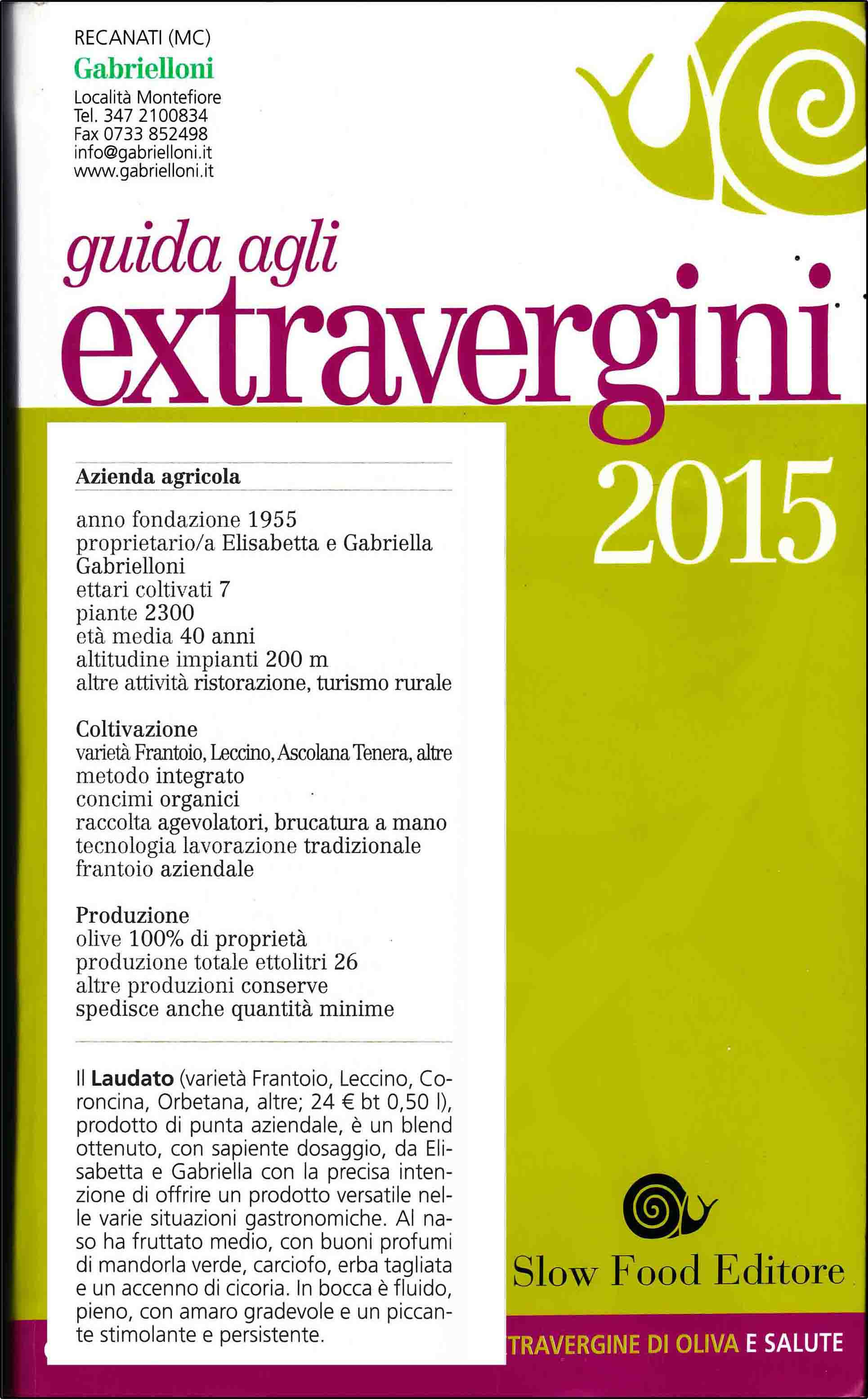 Slow Food Guide to Extra Virgin Olive Oils 2015